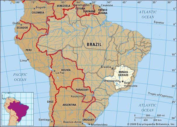 ブラジルの中のミナスジェライス州の場所